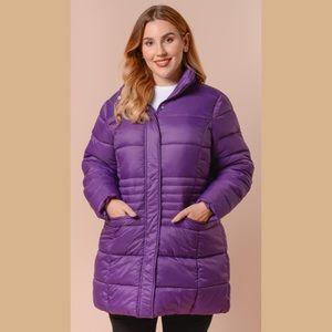 Plum Purple Long Sleeve Womens Coat